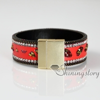 rhinestone leather bracelets crystal stardust bracelets slake bracelets for women