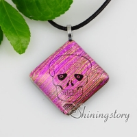 rhombus skull dichroic foil glass necklaces with pendants jewelry