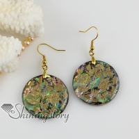 round flower filigree rainbow abalone shell dangle earrings