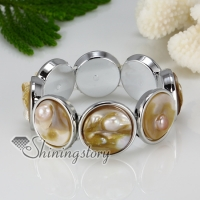 round oval white oyster shell yellow oyster shell freshwater pearl bracelets