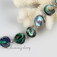 round seawater rainbow abalone shell mother of pearl toggle charms bracelets