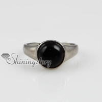 round semi precious stone natural agate finger rings jewelry