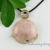 round turquoise rose quartz jade rhinestone necklaces with pendants