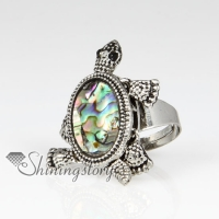 seaturtle seawater rainbow abalone mother of pearl silver filled brass finger rings jewelry