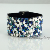 shining rhinestone magnetic buckle wrap slake bracelets mix color leather bracelet