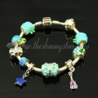 silver charms bracelets with enamel large hole beads