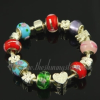 silver charms bracelets with european crystal beads