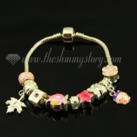 silver charms bracelets with european enamel beads