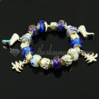 silver charms bracelets with european murano glass european beads