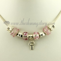 silver charms necklaces with european murano glass charm beads