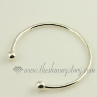 silver plated bangles bracelets fit for charms beads