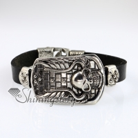 skull fleur de lis snap wrap bracelets genuine leather