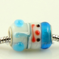 snow man lampwork glass beads for fit charms bracelets