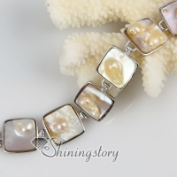 square freshwater pearl shell mother of pearl toggle charms bracelets