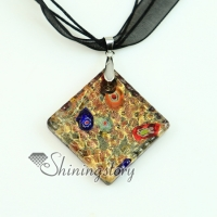 square glitter foil millefiori murano lampwork glass venetian necklaces pendants