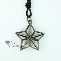star genuine leather copper openwork necklaces with pendants