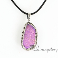 stone pendants birthstone jewellery drusy necklace birthstone jewlery semi precious stone quartz rhinestone birthstone jewellery