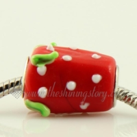 strawberry murano glass beads for fit charms bracelets