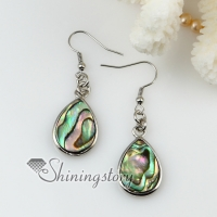teardrop rhombus round oval olive heart oblong patchwork seawater rainbow abalone shell mother of pearl dangle earrings