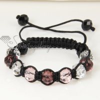 three color alternating macrame crystal beads bracelets jewelry