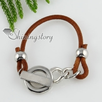 toggle charm genuine leather bracelets unisex