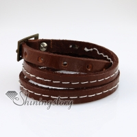 triple layers snap wrap bracelets genuine leather
