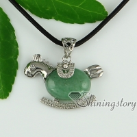 turquoise agate tiger's-eye jade semi precious stone rhinestone horse oval necklaces pendants
