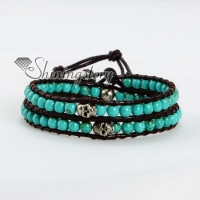 turquoise silver skull bead beaded leather wrap bracelets