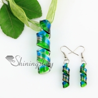 twist glitter lampwork murano italian venetian handmade glass pendants and earrings jewelry sets