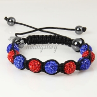 two color alternating macrame disco ball pave beads bracelets
