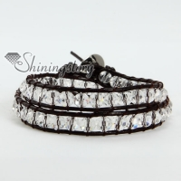 two layer crystal bead beaded leather wrap bracelets