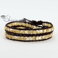 two layer shell bead beaded leather wrap bracelets