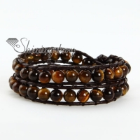 two layer tigereye bead beaded leather wrap bracelets