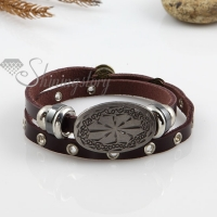 two layer with alloy genuine leather bracelets
