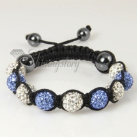 white alternating macrame disco ball pave beads bracelets
