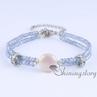 white freshwater pearl bracelet with crystal beads wholesale boho jewelry bohemian jewellery uk