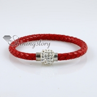 woven bracelet magnetic buckle snap wrap bracelets genuine leather rhinestone