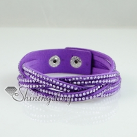 woven genuine crystal rhinestones slake bracelets leather wrap bracelets blingbling wristbands woven bracelets