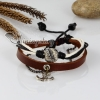 adjustable anchor genuine leather charm bracelets design B