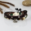 adjustable genuine leather bracelets unisex with charm brown