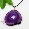 agate semi precious stone necklaces pendants with leather necklaces jewelry design B
