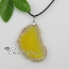 agate semi precious stone necklaces pendants with leather necklaces jewelry design D