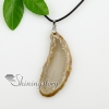 agate semi precious stone necklaces pendants with leather necklaces jewelry design E