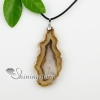 agate semi precious stone necklaces pendants with leather necklaces jewelry design F