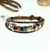 bone genuine leather wrap bracelets unisex design A