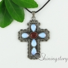 cross teardrop oval glass opal tiger's-eye agate turquoise semi precious stone openwork necklaces with pendants design B
