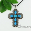 cross teardrop oval glass opal tiger's-eye agate turquoise semi precious stone openwork necklaces with pendants design C