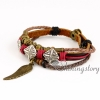 feather leather wrap bracelet wholesale lucky charm bracelet heart charm bracelet leather braided bracelets genuine leather snap bracelets design B
