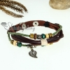 flower leaf charm genuine leather wrap bracelets design B