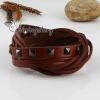 genuine leather woven double layer buckle wristbands bracelets for men and women brown
